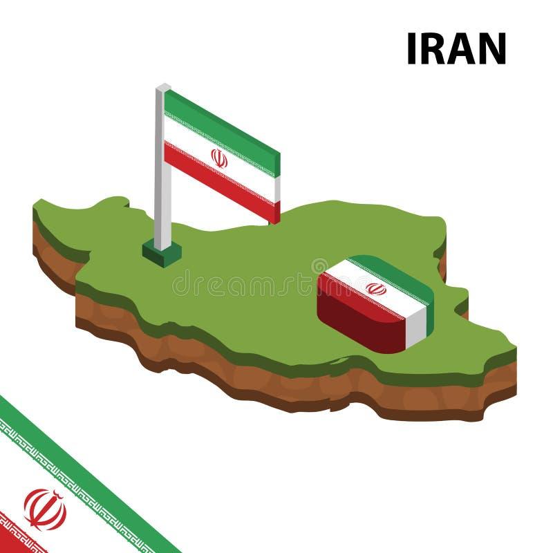 信息伊朗的图表等量地图和旗子 r 皇族释放例证