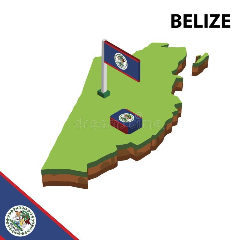 信息伯利兹图表等量地图和旗子  r 库存例证