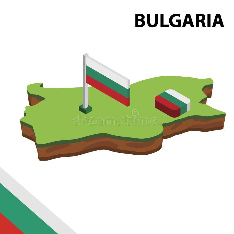 信息保加利亚的图表等量地图和旗子 r 皇族释放例证