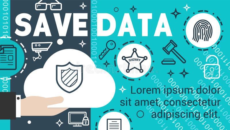 信息保护数据保密横幅  皇族释放例证