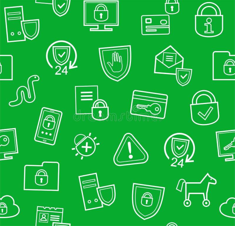 信息保护,无缝的背景,绿色,平 库存例证