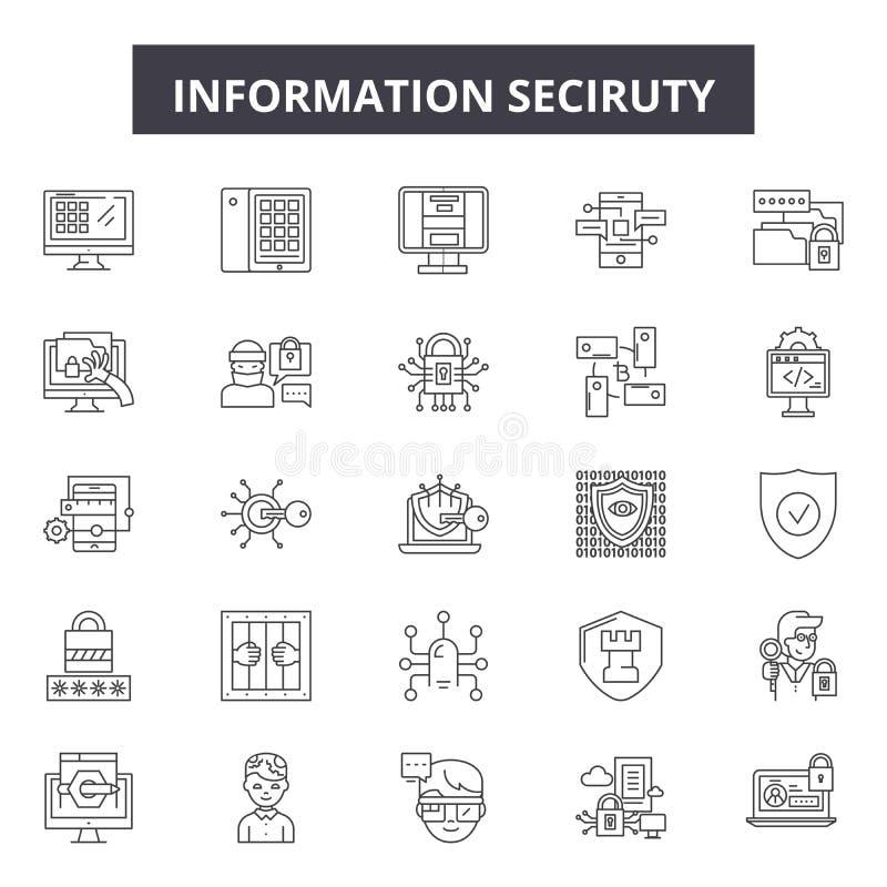 信息保障线象,标志,传染媒介集合,线性概念,概述例证 库存例证