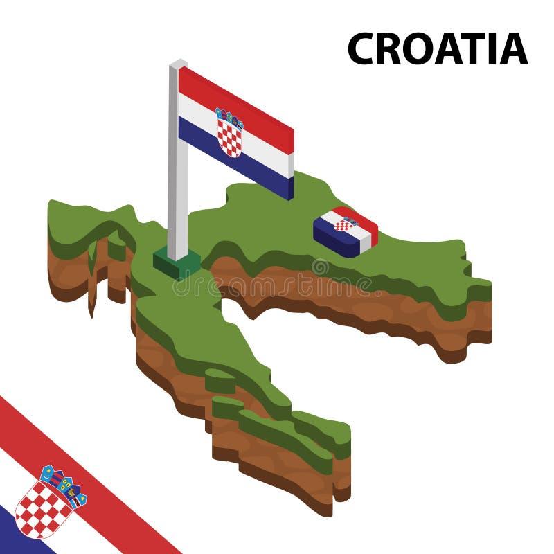信息克罗地亚的图表等量地图和旗子 r 皇族释放例证