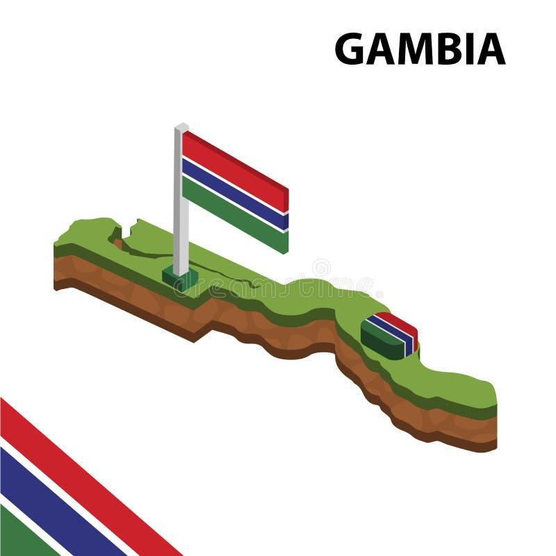 信息冈比亚的图表等量地图和旗子 r 库存例证