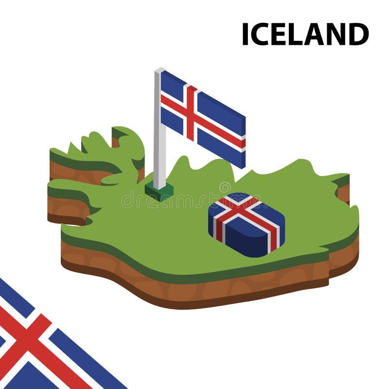 信息冰岛的图表等量地图和旗子 r 向量例证