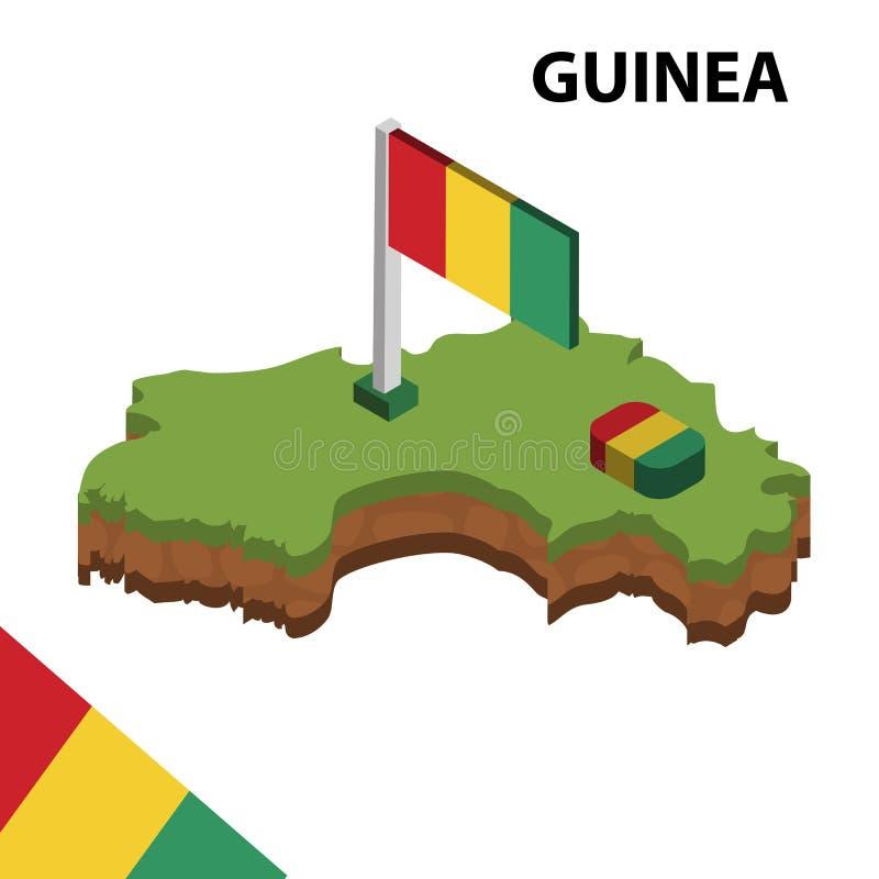 信息几内亚的图表等量地图和旗子 r 皇族释放例证
