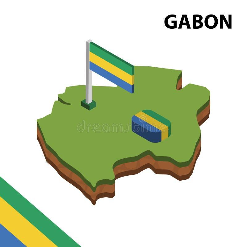 信息加蓬的图表等量地图和旗子 r 库存例证