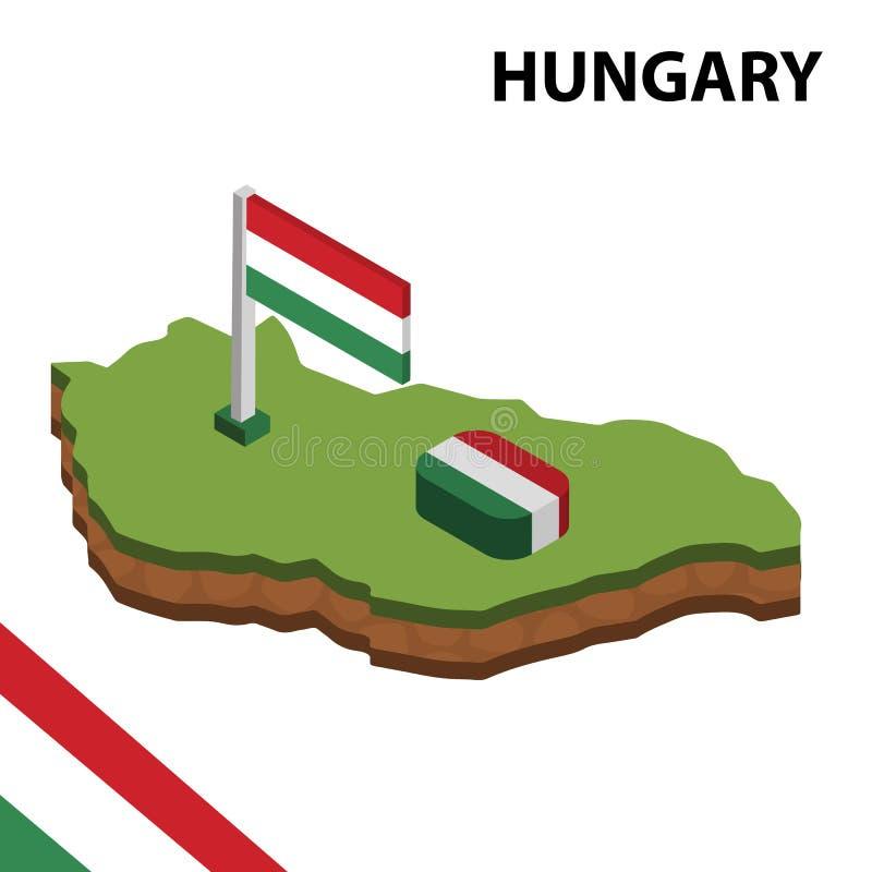 信息匈牙利的图表等量地图和旗子 r 库存例证