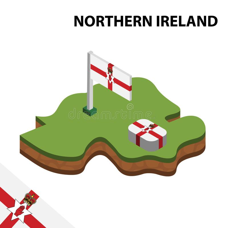 信息北爱尔兰的图表等量地图和旗子 r 向量例证