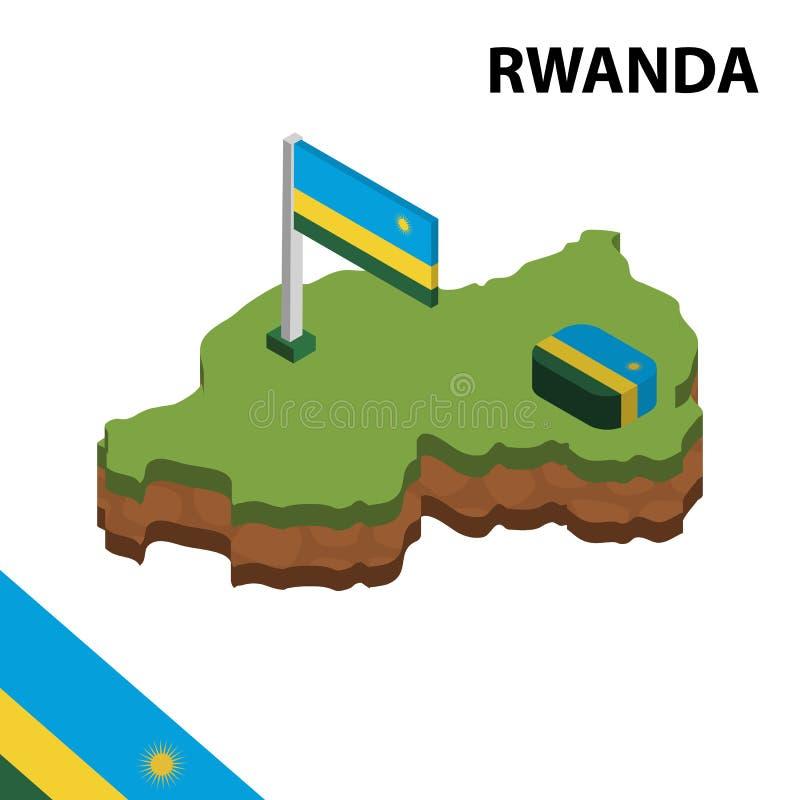 信息卢旺达的图表等量地图和旗子 r 向量例证