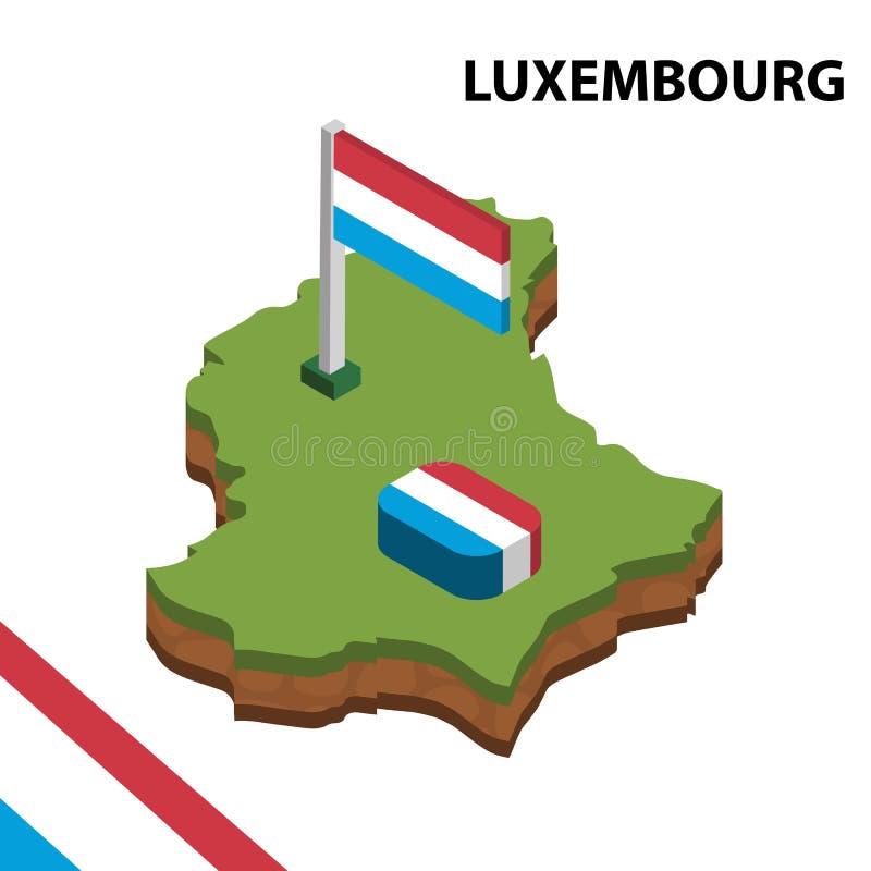 信息卢森堡图表等量地图和旗子  r 向量例证