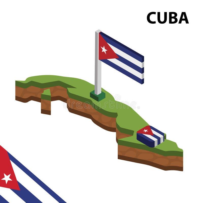 信息古巴的图表等量地图和旗子 r 向量例证