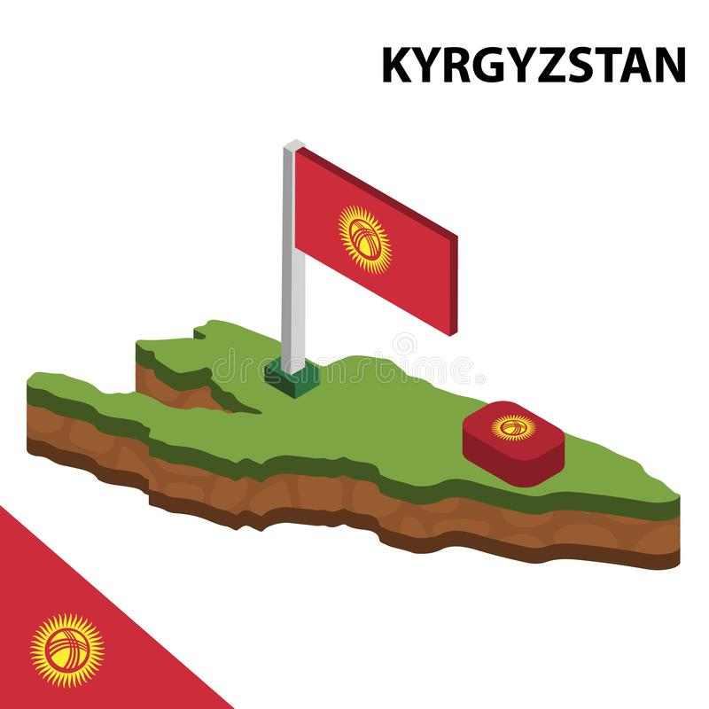 信息吉尔吉斯斯坦的图表等量地图和旗子 r 皇族释放例证