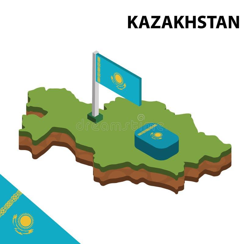 信息哈萨克斯坦图表等量地图和旗子  r 库存例证