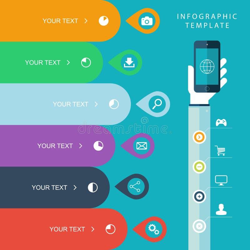 信息图表模板用拿着销售计划的手电话,销售绘制例证,工作流程布局,图图表 向量例证