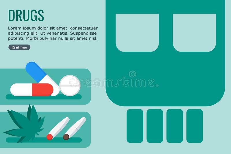 信息图表的危险药物 库存例证