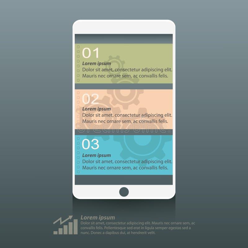 信息图表聪明的电话屏幕设计 向量例证