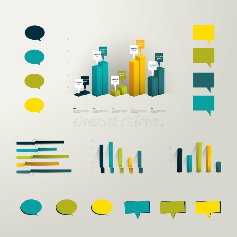 信息图表集合元素 塑料3D图表和minimalistic讲话的汇集为印刷品或网页起泡 库存例证
