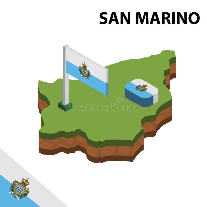 信息圣马力诺的图表等量地图和旗子 r 皇族释放例证