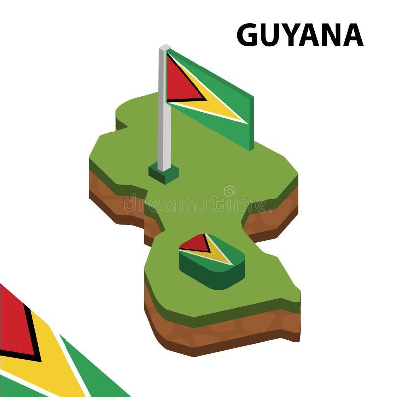 信息圭亚那的图表等量地图和旗子 r 皇族释放例证