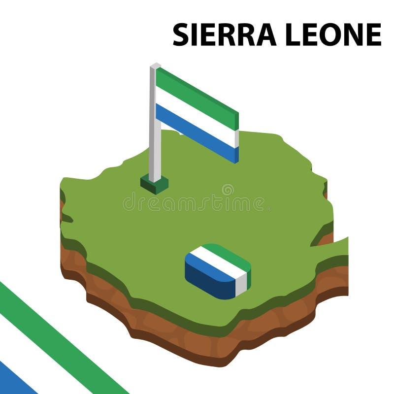 信息塞拉利昂的图表等量地图和旗子 r 皇族释放例证