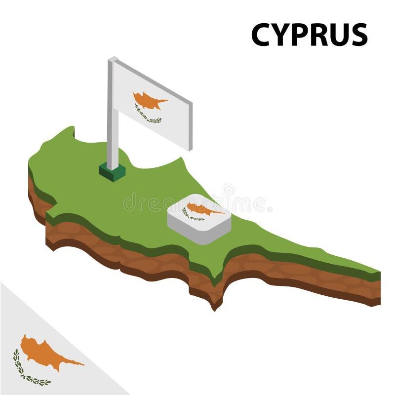 信息塞浦路斯图表等量地图和旗子  r 库存例证