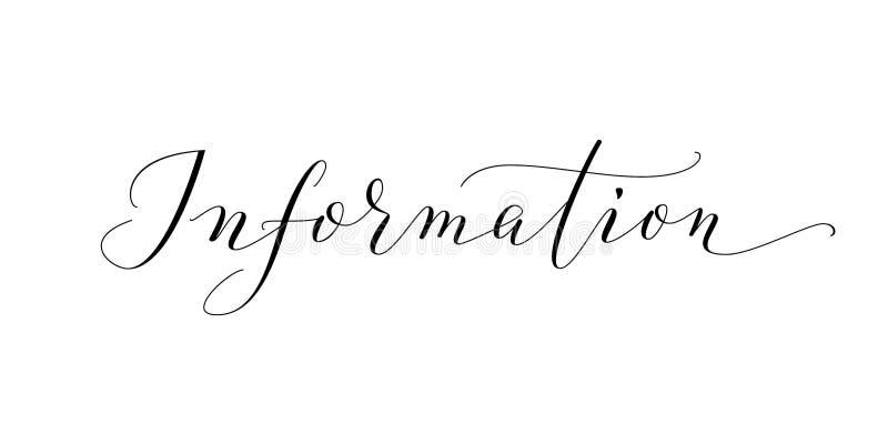 信息字,手在白色隔绝的书面习惯书法 向量例证