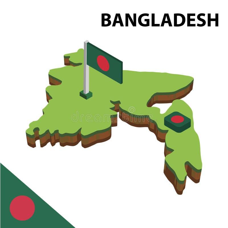 信息孟加拉国的图表等量地图和旗子 r 向量例证