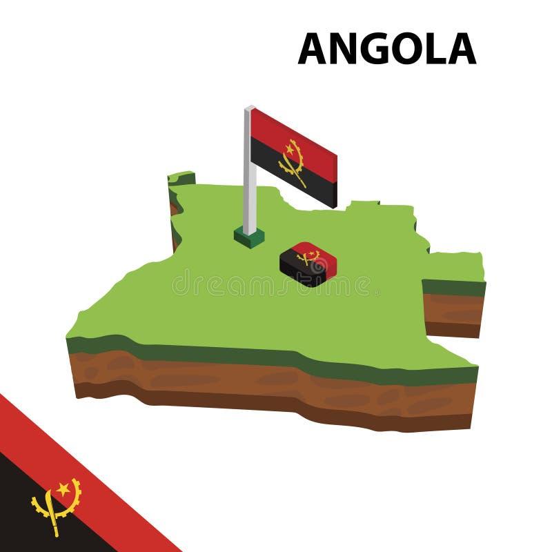 信息安哥拉的图表等量地图和旗子 r 向量例证