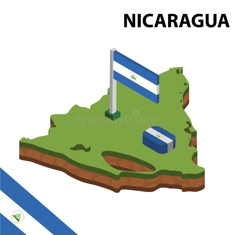 信息尼加拉瓜的图表等量地图和旗子 r 皇族释放例证