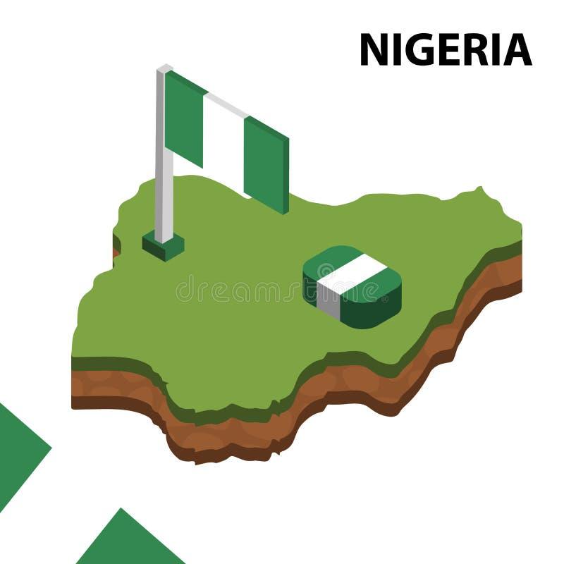 信息尼日利亚的图表等量地图和旗子 r 库存例证