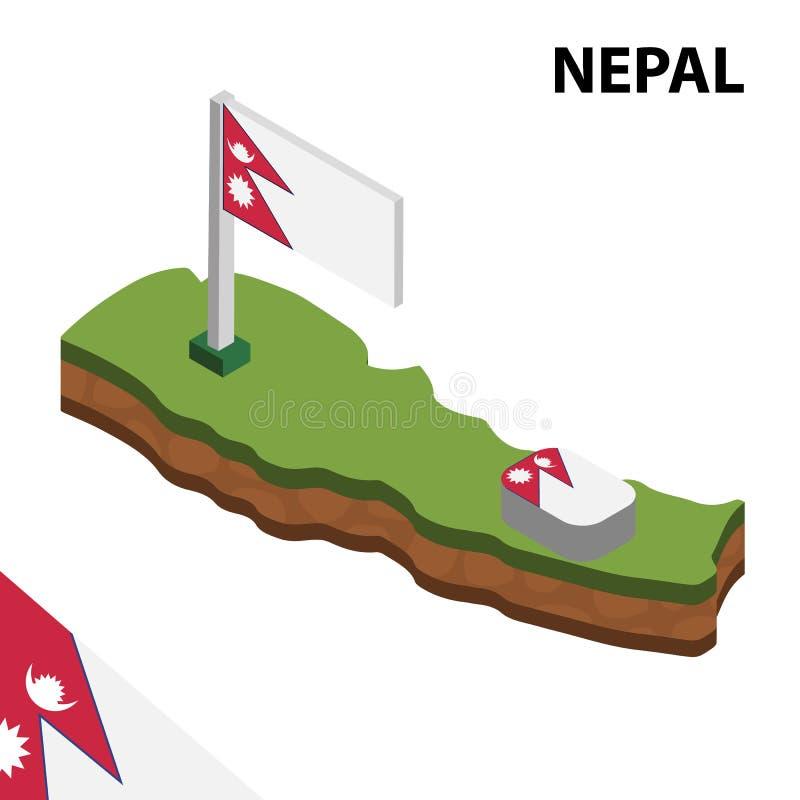 信息尼泊尔的图表等量地图和旗子 r 库存例证