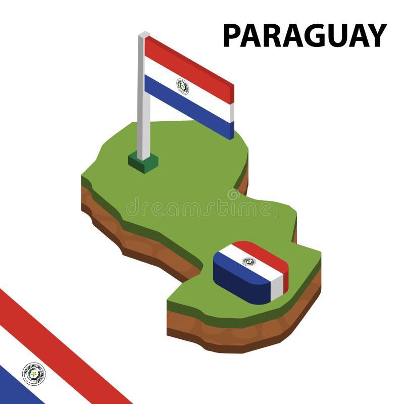 信息巴拉圭的图表等量地图和旗子 r 库存例证