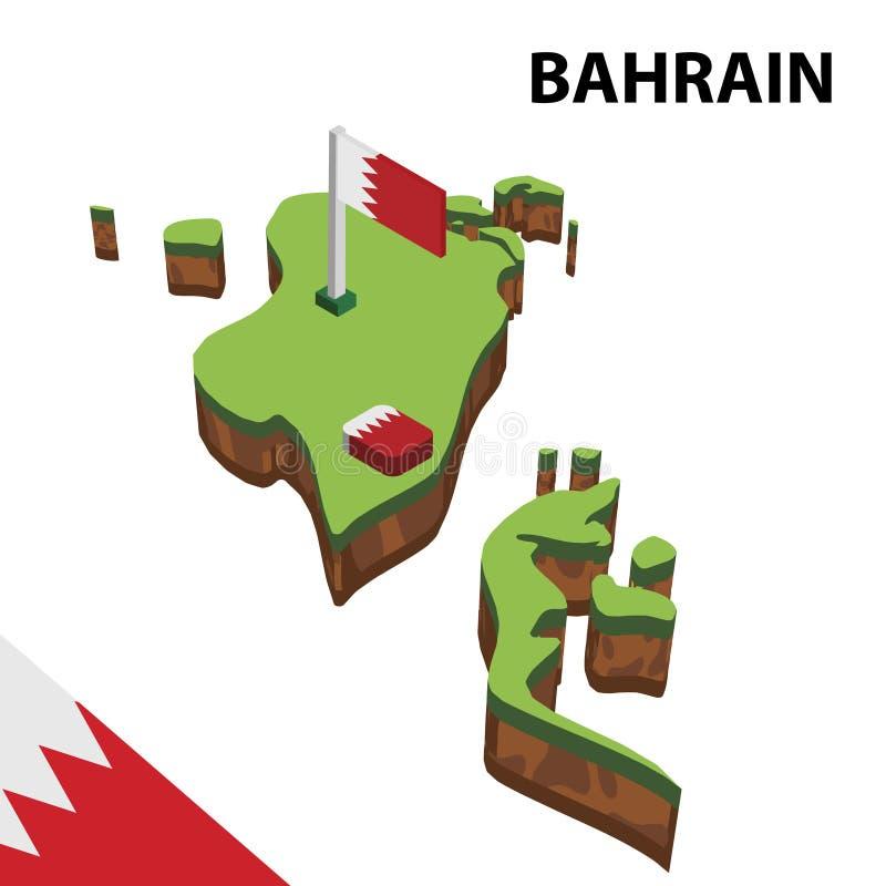 信息巴林的图表等量地图和旗子 r 向量例证