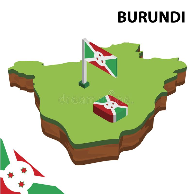 信息布隆迪的图表等量地图和旗子 r 库存例证