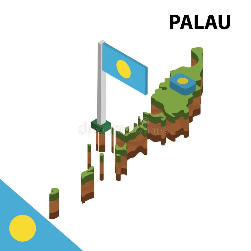 信息帕劳图表等量地图和旗子  r 皇族释放例证