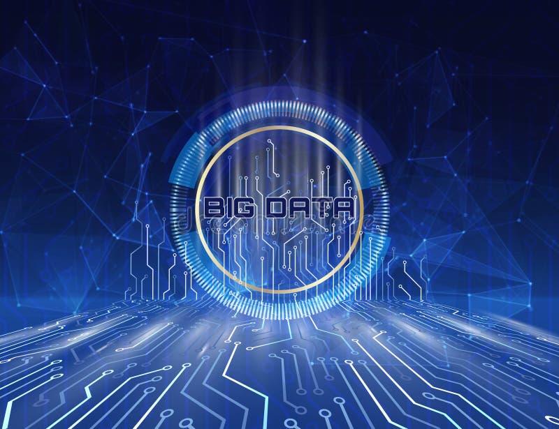 信息技术和大数据的概念 与电子连接器的全息照相的接口结合数据和演算 库存例证