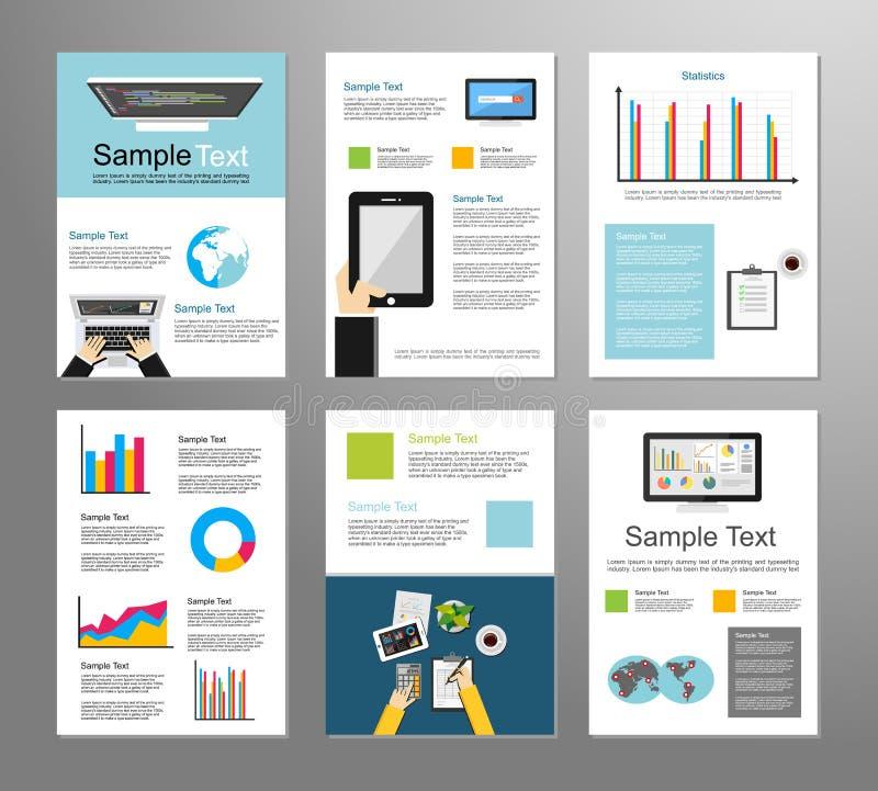 信息技术或企业infographic元素 它背景 另外的背景企业格式 移动技术 小册子模板 向量例证