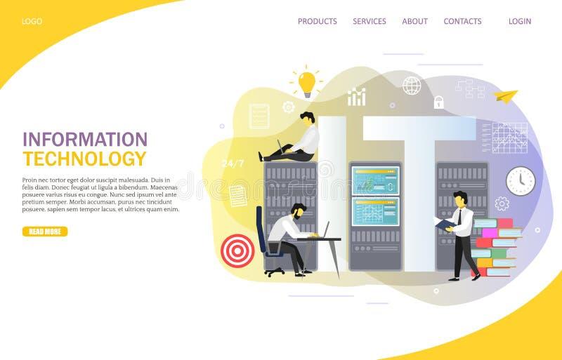 信息技术着陆页网站传染媒介模板 皇族释放例证