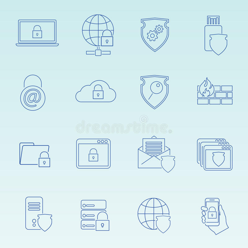 信息技术被设置的安全象 皇族释放例证
