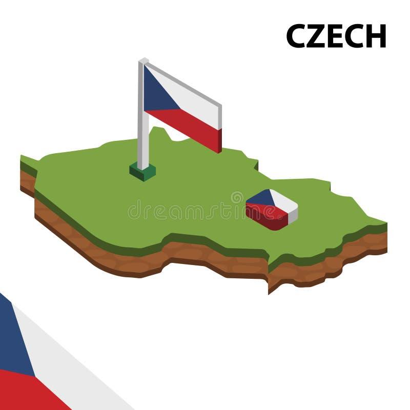 信息捷克图表等量地图和旗子  r 向量例证