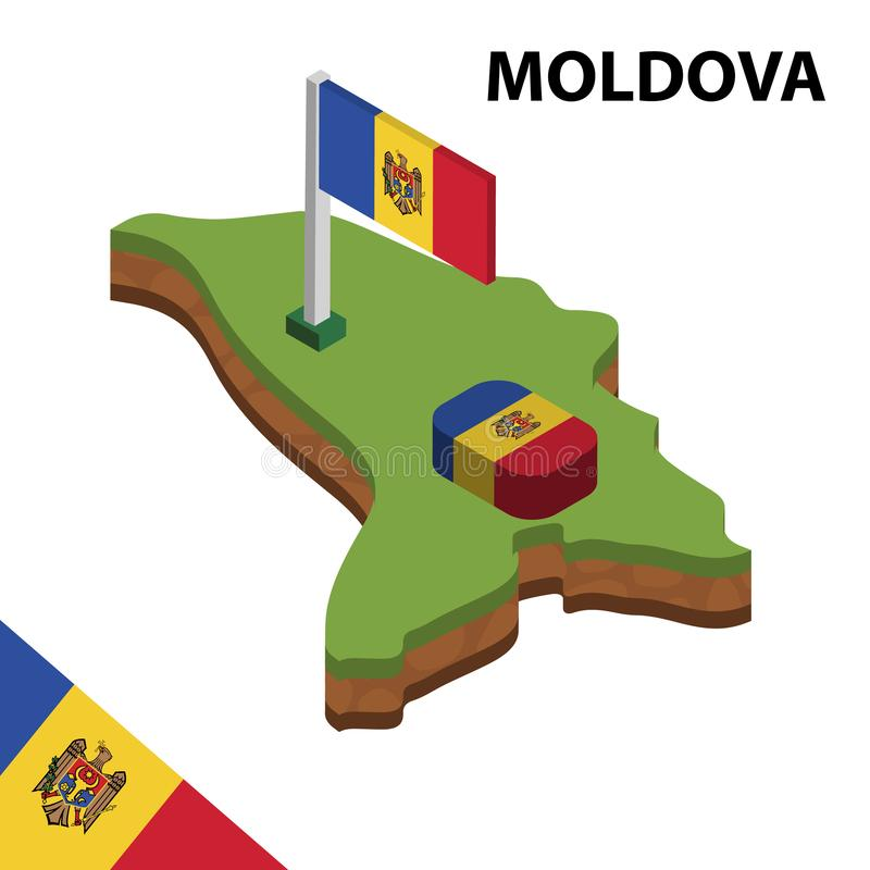 信息摩尔多瓦图表等量地图和旗子  r 皇族释放例证