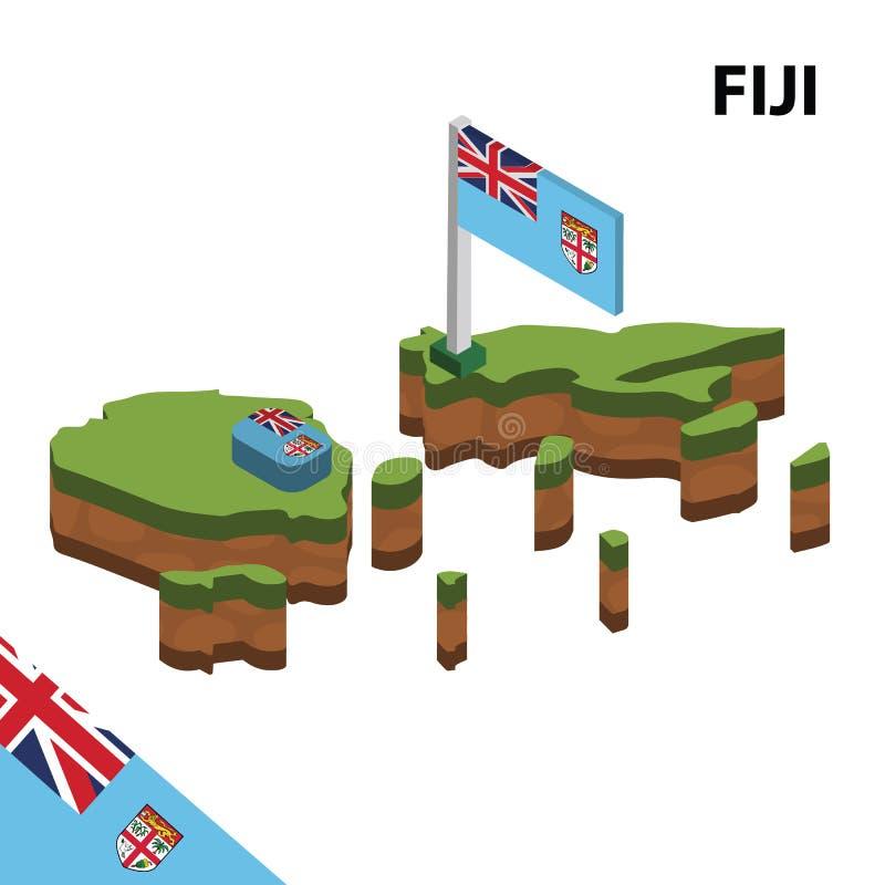 信息斐济的图表等量地图和旗子 r 向量例证