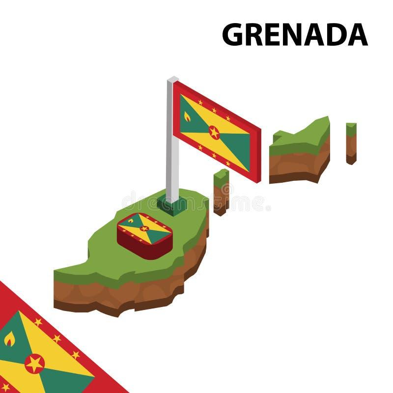 信息格林纳达图表等量地图和旗子  r 库存例证