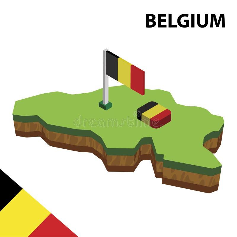 信息比利时的图表等量地图和旗子 r 皇族释放例证