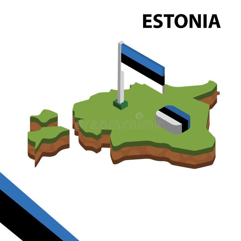 信息爱沙尼亚的图表等量地图和旗子 r 向量例证