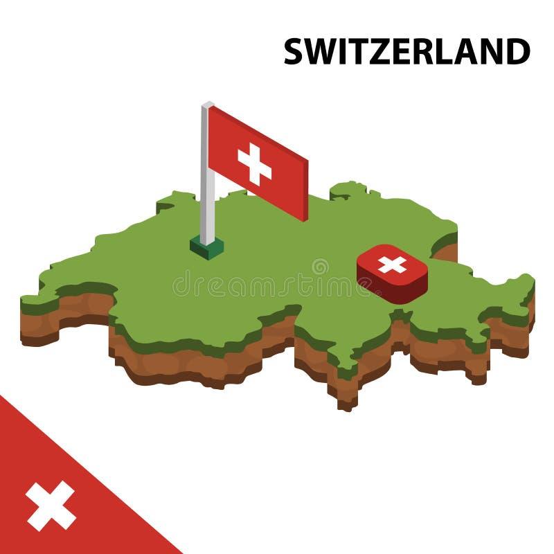 信息瑞士的图表等量地图和旗子 r 库存例证