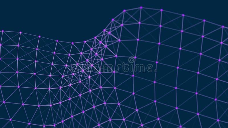 信息的结构连接 在网络连接的数据传送 抽象数据背景 3d?? 向量例证