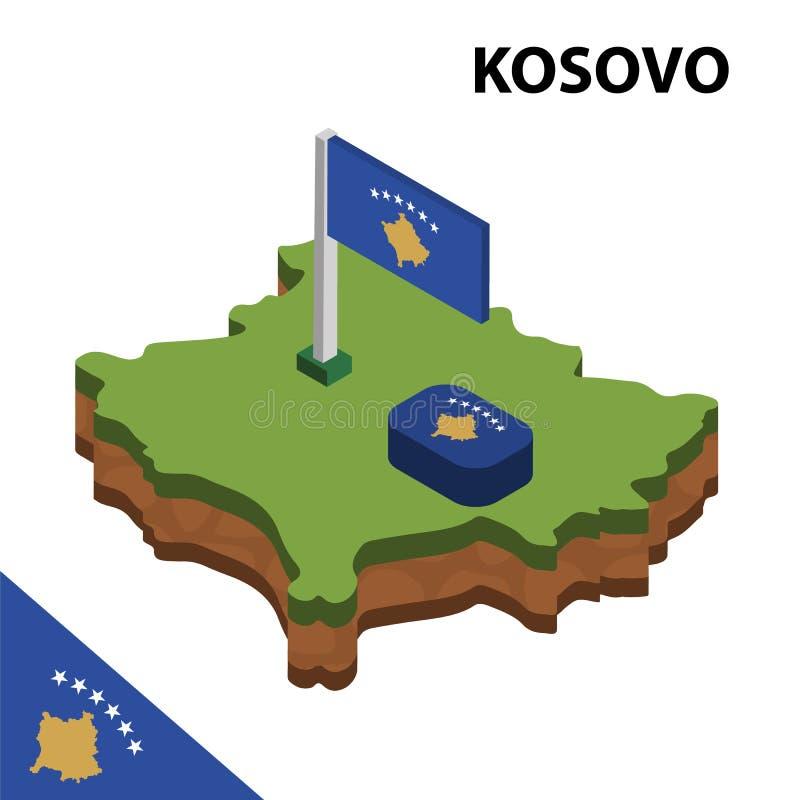 信息科索沃图表等量地图和旗子  r 向量例证