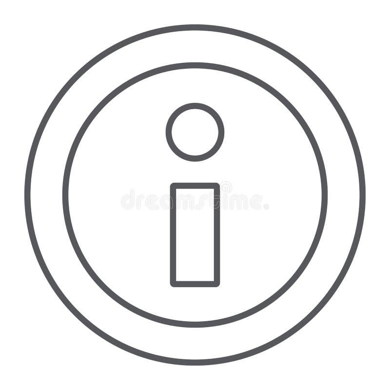 信息稀薄的线象,帮助并且通知,信息标志,向量图形,在白色背景的一个线性样式 皇族释放例证
